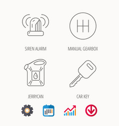 manual gearbox jerrycan and car key icons vector image vector image