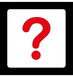 Question flat red and white colors rounded button vector