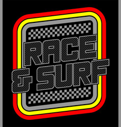 race and surf logo for t-shirt 2 vector image