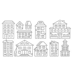 real estate and residential buildings icons in vector image