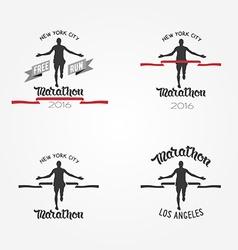 Set of marathon logotypes long distance running vector image vector image
