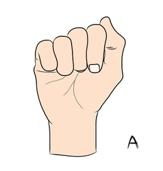 Sign language and the alphabetthe letter a vector
