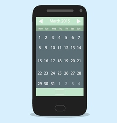 Smartphone calendar flat vector image vector image