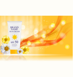 Sun care cream bottle tube with flowers chamomile vector