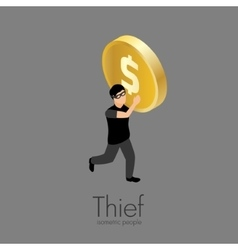 Thief with gold coin vector image