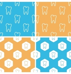 Tooth pattern set colored vector