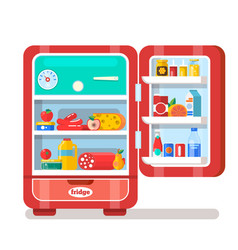 vintage red opened refrigerator full of food vector image