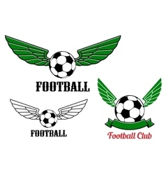 Winged football or soccer ball emblem vector image