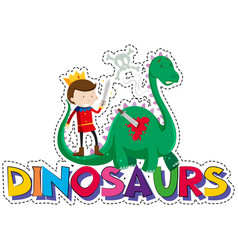 Word design for dinosaurs vector