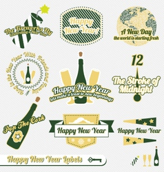 Happy new year labels vector
