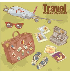 Travel objects collection vector