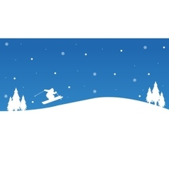 Winter christmas people ski landscape vector