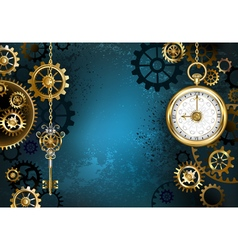 Turquoise Background with Gears vector image
