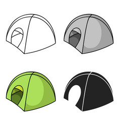 Tent icon in cartoon style isolated on white vector