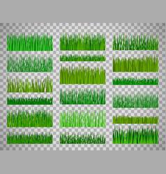 Grass border set on transparent background vector