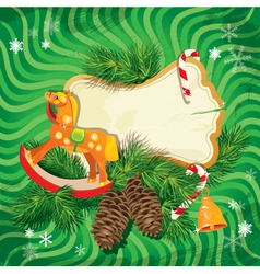 Christmas and new year card with wooden horse vector