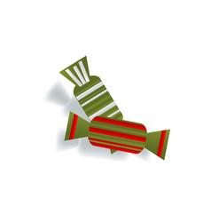 Two paper cut candies christmas decoration element vector