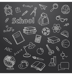 School doodle on a blackboard background vector image
