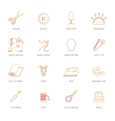 Sewing equipment icons set flat line vector