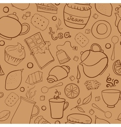 Tea and sweets seamless pattern vector