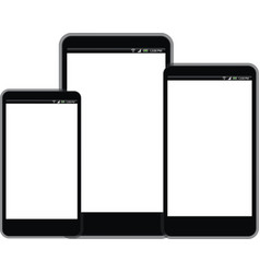 Smart phone with white screen sizes vector