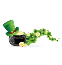 Leprechaun hat and pot of gold vector