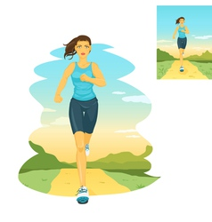 Running woman morning jogging vector