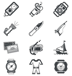 Diving black icons vector