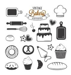 Vintage bakery elements vector image