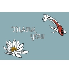 Thank you card with koi carp and water lily vector