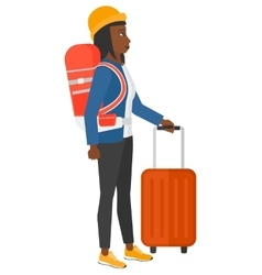 Woman with bzckpack and briefcase vector