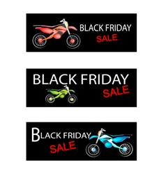 Motorcycle on three black friday sale banners vector