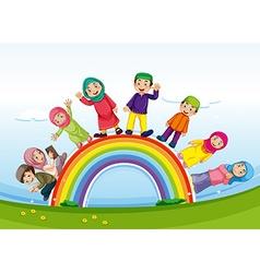 Muslim family standing on rainbow vector image