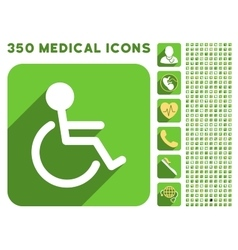 Handicapped icon and medical longshadow icon set vector