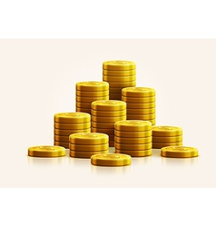 Gold coins isolated on white realistic theme vector