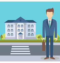 Businessman at the office building vector