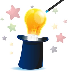 Magic hat idea lamp creative vector