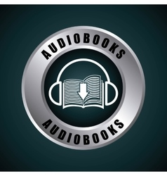 Book and headphone icon audiobooks design vector