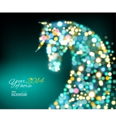 New Year Card with Horse of lights vector image