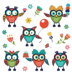 A stylish collection of cute funny owls vector image vector image