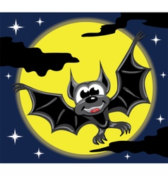 Bat in front of yellow moon and night sky vector