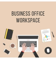 business office workspace with laptop vector image vector image