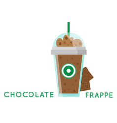 Chocolate frappe glass white background ima vector
