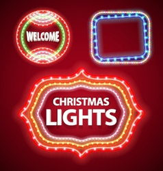 christmas lights frames set2 vector image vector image