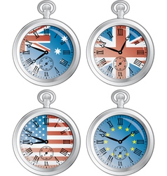 Clocks with flags vector image