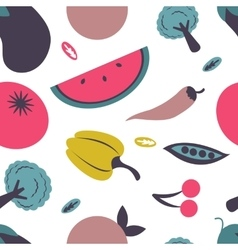 Colorful fresh fruit and vegetables seamless vector image