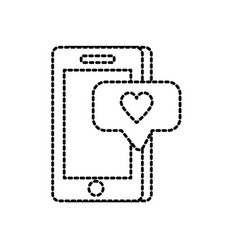 dotted shape smartphone technology with chat vector image