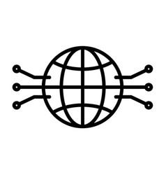 electronic circuit globe line icon vector image vector image