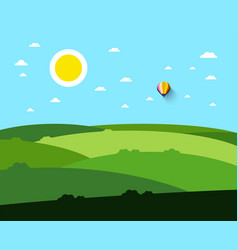 empty field landscape with sun and hot air vector image