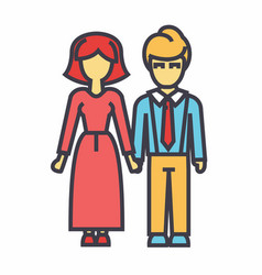 Family woman and man avatars concept line vector